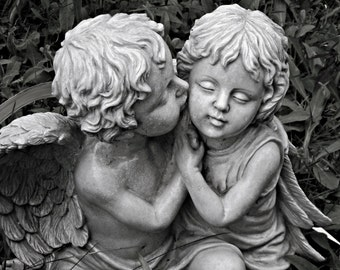 The Kiss - 8 X 10 Print - Angels - Photography - Black and White - Art - Print - Rustic Chic - Home Decor - Nursery Decor - Cherubs