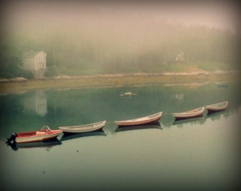 Mist - Boats - Maine - Photography - 8 X 10 Print - Vintage Quality - Shabby Chic - Rustic - Art - Home Decor