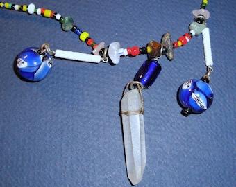 Quartz Crystal Necklace - Boho - Vintage - Beads - Gemstones - Gypsy - Bohemian - Jewelry - Hippie