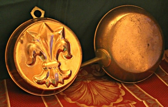 Vintage French Copper Frying Pan & Cake Mold Bundle - Home Decor - Kitchen - Wall Decor