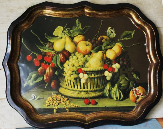 Shabby Chic Large Serving Tray - England - Vintage - Metal