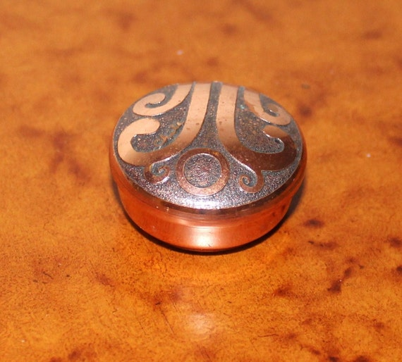 Tiny Round Vintage Copper Trinket Box Chile Collectibles