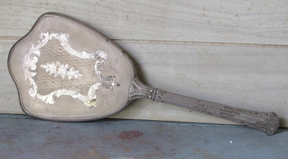 Vintage Engraved Silverplated Hand Mirror - Home Decor - Collectibles - Antique