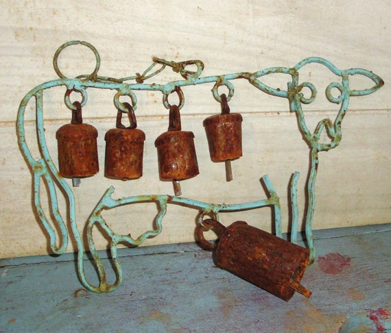Vintage Cow With Rusty Bells Home Decor Farmhouse Decor