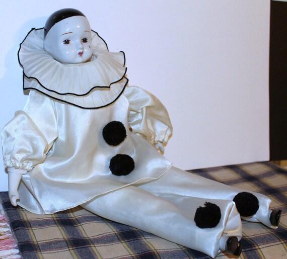 Vintage Pierrot Clown Doll Porcelain Mime Collectibles