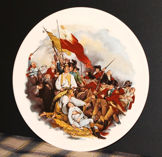 Vintage American History Plate - Ceramic -  Battle of Bunker's Hill - John Trumbull - Collectibles - Historical - Revolutionary War