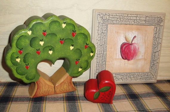 Vintage Hand Painted Wooden Apple Tree and Wall Hanging - Home Decor - Country - Farmhouse Decor - Apples