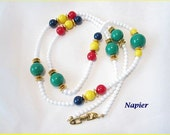 RESERVED - Vintage Napier Necklace Multi Color Beads 1980s