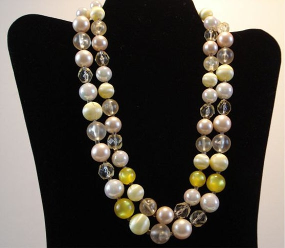Vintage Bead Necklace Japan Pastel Yellow Pink Clear Beads