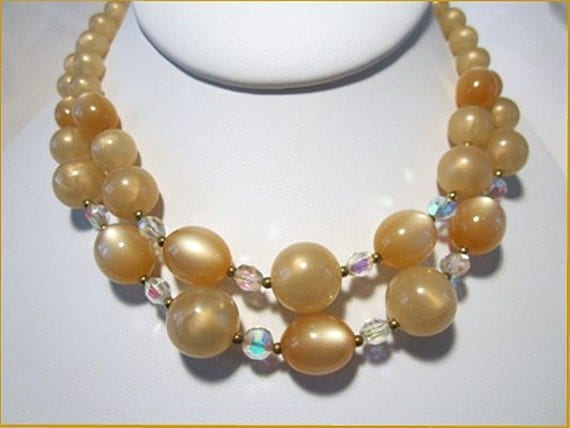 Vintage Necklace Moonglow Champagne Beads Two Strand Acrylic 1950s 1960s
