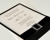 "DEPOSIT - Elegant Traditional Black and White/Ivory Classic Ribbon and Bow Wedding Invitations ""Diamond Affair"""