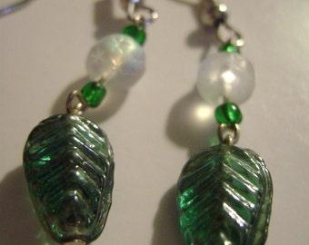 Green Leaf dangle earrings