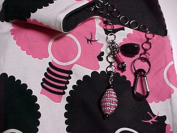 "Crossbody Bag Reversible Washable ""African Queen"" Novelty Pink Black Purse with Keychain / Bagcharms"