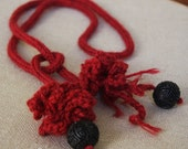 anemone wool lariat - deep red and carved bead - SALE