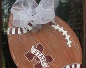 Wooden Mississippi State Football Door Hanger