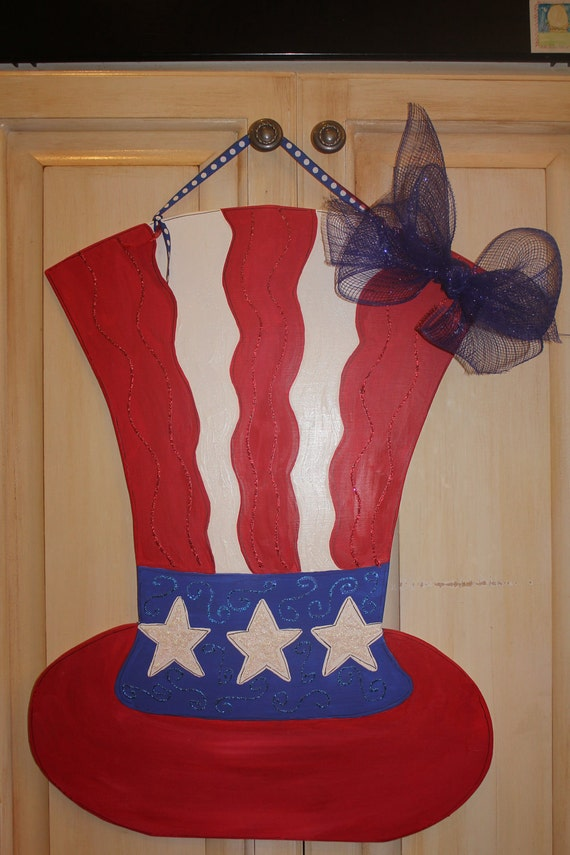 Items Similar To Wooden Uncle Sam Hat Door Hanger On Etsy