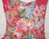 """Beautiful Pillow Cover Vintage Floral Roses Bouquet Red Pink Blue Flowers Linen Custom Cushion Couch Sofa Bed Throw Decorative 16"""" Cottage"""