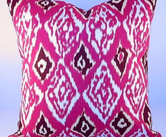 "Ashbury Ikat Pillow Cover Treasury Cushion Linen Magenta Pink Modern Retro Contemporary Throw Sofa Couch Decorator 16"" inch"