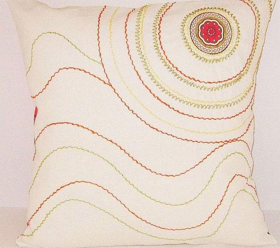 Embroidered OOAK Treasury List Pillow Cover Retro Mid Century Modern Orange Green Yellow Circle Custom Cushion Throw Couch Sofa Stripes