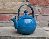Cobalt Blue Vintage Enamel Tea Kettle Tea Pot
