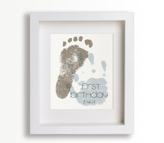 First Birthday Art Print - Personalized Hand and Foot Prints - 8x10 - Personalized Decor, Children Decor, Keepsake, Footprint, Handprint