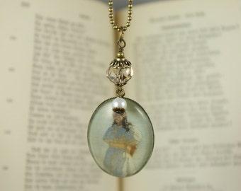 FRIEND, Glas Cabochon Vintage Necklace, Romantic, Nostalgic, Victorian Jewelry, Brass