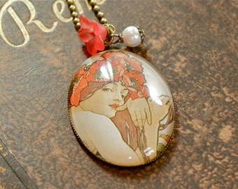 MUCHA Art Nouveau, Glass Cabochon Vintage Necklace,Flowers,Red,Romantic, Nostalgic, Victorian Jewelry, Brass, Spring,Springtime