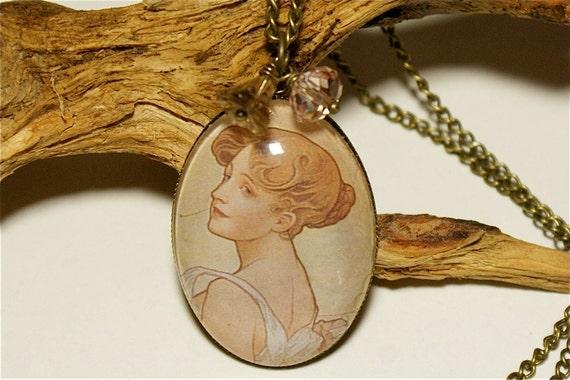 Art Nouveau, Glass Cabochon Vintage Necklace,Flowers,Romantic, Nostalgic, Victorian Jewelry, Brass, Spring,Springtime