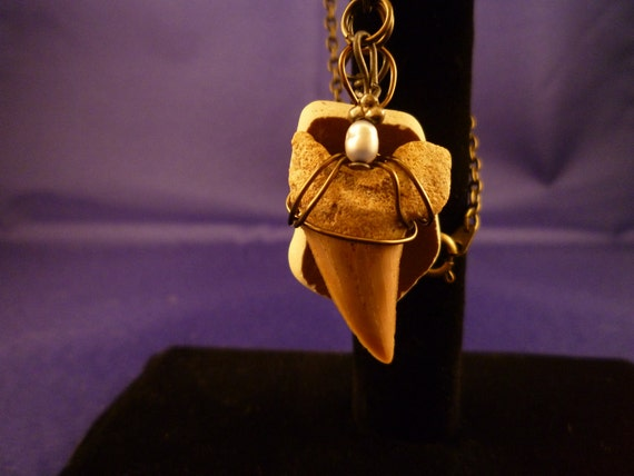 Beautiful brass shark tooth necklace