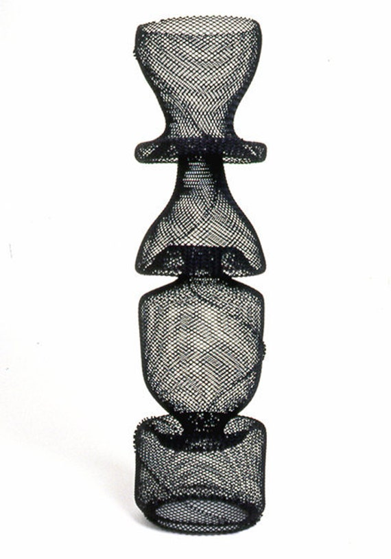 Modern Totem - Black Steel Mesh Hand Sculpted Vessel Totem - Home Decor, Gift For Him, Gift Guide
