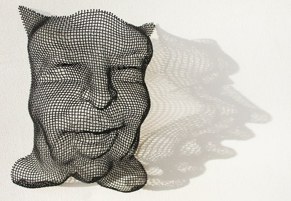 Clowny Face Wall Hanging Powder Coated Steel Wire Mesh Sculpture