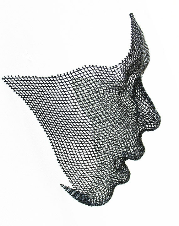 Wire Mesh Woodland Faerie Face Wall Hanging Sculpture