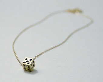 Tiny gold dice necklace- dice cube on gold filled chain- whimsical dainty jewelry