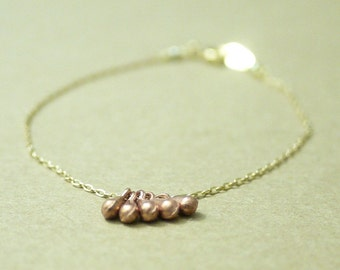 Tiny drop bracelet - pink gold drops on 14K gold filled - simple delicate jewelry