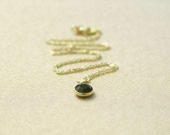 Black crystal round necklace - tiny gem pendant on gold filled chain- dainty simple jewelry