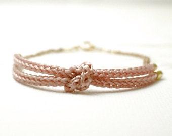 Pink knot bracelet - rope bracelet - nautical dainty jewelry