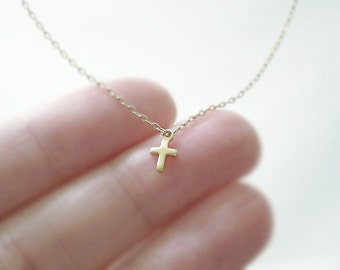Tiny gold cross necklace - 14k gold filled chain - simple dainty jewelry illusy
