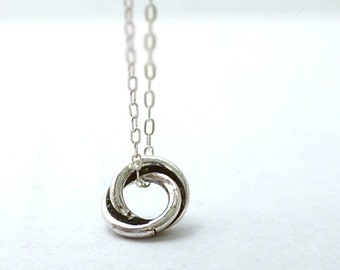 TIny circle necklace - unity eternal charm on sterling silver chain - dainty modern jewelry