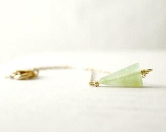 Gold triangle bracelet - light green aventurine stone on gold filled - arrow minimal