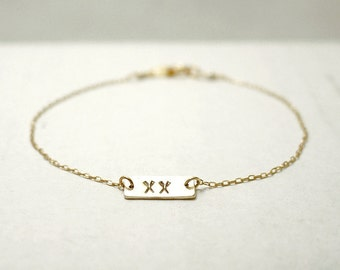 Initial tag bracelet -  personlized charm bracelet - custom dainty jewelry