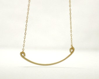 Gold curve bar necklace - thin brass wire on gold filled - dainty jewelry