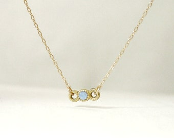 Tiny crystal necklace - blue opal swarovski on gold filled - delicate dainty jewelry