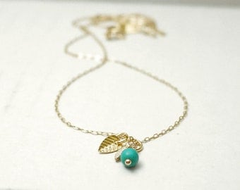 Gold leaf seed necklace - green turquoise on gold filled - spring summer