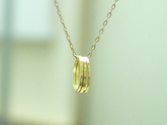 Eternity circle pendant necklace - circle rings on 14K gold filled chain - simple dainty necklace