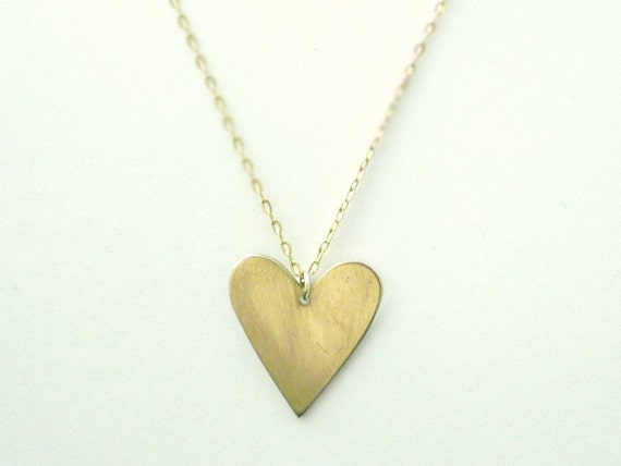 Gold heart necklace - brass heart on gold filled chain- valentines day jewelry - simple dainty jewelry