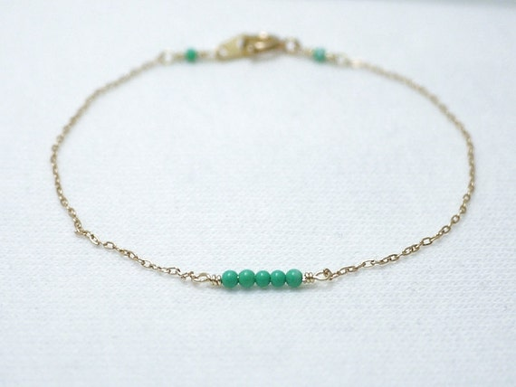 Tiny turquoise dash bracelet - tiny turquoise beads on gold filled - simple everyday jewelry