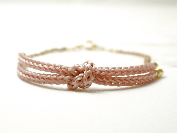 Pink knot bracelet - rope bracelet - nautical dainty jewelry