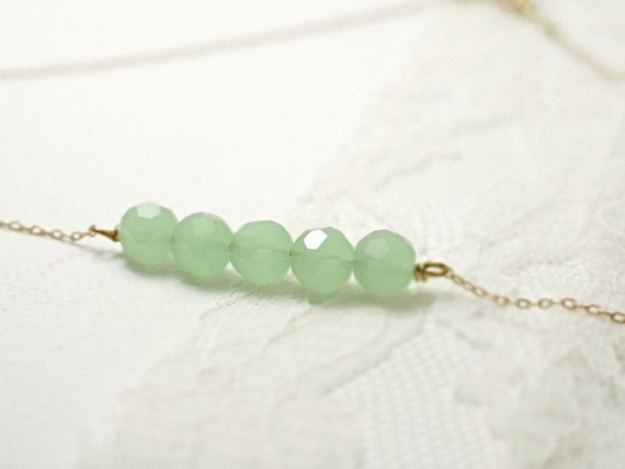 Beaded bar necklace - mint facets on gold filled chain - delicate dainty jewelry