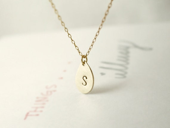 Gold initial necklace - personalized teardrop - customized - hand stamped