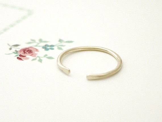 Gold stacking ring - adjustable hammered - knuckle, midi - minimal modern jewelry